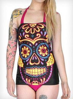 Psychedelic Sugar Skull Bathing Suit | PLASTICLAND