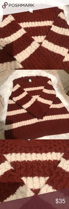 Jcrew cable knit sweater Rust/cream colored cable knit sweater. 3/4 sleeve. Perfect for the fall and winter J. Crew Sweaters