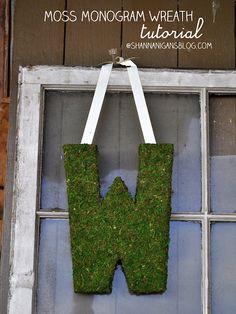 Moss Monogram Wreath tutorial via the amazing Shannanigans! Love this!!