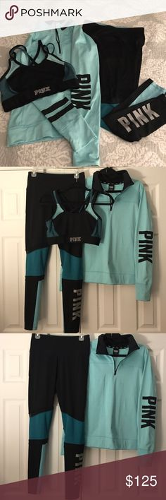 ⚡️VS Pink Ultimate Set : Pants-M,Bra-M,Jacket-L⚡️ ⚡️Victoria's Secret Pink Ultimate Trio Set:⚡️Ultimate Leggings Size-M, Sport Bra Top size-M, Jacket size-L , Color- Teal & Black, a great set for any VS Pink collection, all the pieces have been tried on or worn 1-2 x's , pants are a re-Posh just received them and didn't look like I wanted them to so need to go , from smoke free home(FREE GIFT W/PURCHASE) PINK Victoria's Secret Pants Leggings