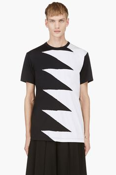 COMME DES GARÇONS HOMME PLUS Black & White Zig-Zag T-Shirt