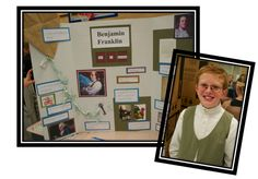 """Instead of a math night, it's history night with a """"wax museum"""" of notable people! Students dress up as their notable person, and complete a tri-fold autobiography board! Social Studies Activities, Teaching Social Studies, History Projects, School Projects, School Hacks, School Ideas, Tri Fold Poster Board, Franklin Books, Math Night"""