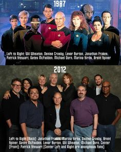 """Don't judge me because I pinned this...it's a result of my inner geek! """"Star Trek: The Next Generation"""" 1987 vs. 2012"""