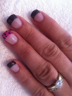 Black & pink french nails with layered dots French Nails, Pretty Nails, Dots, Pink, Beauty, Black, Beleza, French Tips, Rose