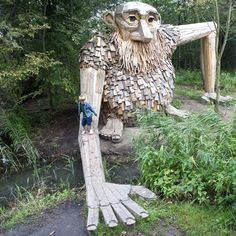 The 'Friendly Troll', recycled wood sculpture in Copenhagen, Denmark by Thomas Dambo.