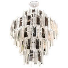 Venini Style Multi-Tier Chandelier with Smoked Mirrored & Hand Beveled Glass Prisms | From a unique collection of antique and modern chandeliers and pendants  at http://www.1stdibs.com/furniture/lighting/chandeliers-pendant-lights/