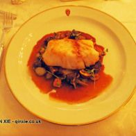 Fillet of Skrei with roasted wild mushrooms, smoked eel, braised pig's cheek and roasted Jerusalem artichoke in a rich red wine bourguignon sauce, Skrei season launch 2015