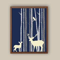 Woodland Nursery Art - Deer - Fawn - Stag - Forest Nursery Decor - Birch Tree Wall Art - Owl Nursery Decor - Any Color Available by iNKYSQUIDKIDS on Etsy https://www.etsy.com/listing/182853437/woodland-nursery-art-deer-fawn-stag