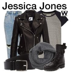 Jessica Jones by wearwhatyouwatch on Polyvore featuring polyvore fashion style Current/Elliott Anine Bing Topshop Frye Wyatt Hermès clothing television wearwhatyouwatch