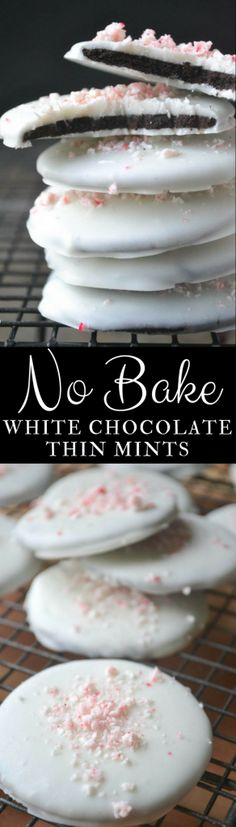 Easy No-Bake White Chocolate Thin Mints ~ just four simple ingredients is all it takes to make these divine minty cookies!