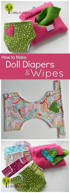 How to make DIY doll diapers and wipes tutorial with Free Pattern. These make great handmade Christmas gifts for little girls! How to make DIY doll diapers and wipes tutorial with Free Pattern. These make great handmade Christmas gifts for little girls! Sewing For Kids, Baby Sewing, Free Sewing, Sewing Projects For Kids, Christmas Sewing Projects, Sew Baby, Diy Doll Diapers, Diy Doll Diaper Bag, Cloth Diapers