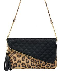 Black & Brown Leopard Gemma Fold-Over Crossbody Bag