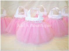 Set of 8 Sweet Baby Pink Sequins Party Favor Tutu Bags