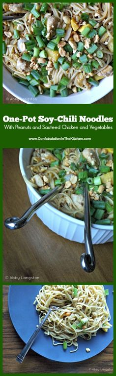 One-Pot Soy-Chili Noodles With Peanuts and Sauteed Chicken and Vegetables by Confabulation in the Kitchen: Dinner made in one pot! Savory, crunchy, and salty—if you like that kind of thing. #poultry #simple #dinner