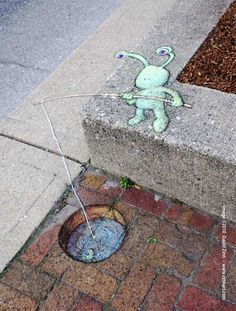3D Sidewalk Chalk Art by David Zinn