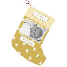Gold with snowflakes My First Christmas photo Small Christmas Stocking - christmas stockings merry xmas cyo family gifts presents Baby's First Christmas Stocking, First Christmas Photos, Small Christmas Stockings, Babies First Christmas, Christmas Ornaments, Christmas Stuff, Christmas Eve, Personalized Stockings, Personalized Baby
