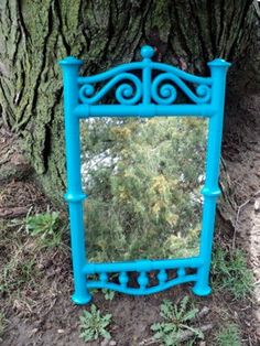 Vintage Blue Scrolly Wall Mirror by melissap6908 on Etsy, $60.00