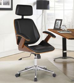 Armen Living Century Faux Leather Office Chair with Multifunctional Mechanism in Chrome Finish with Walnut Veneer Back JCPenney Luxury Office Chairs, Luxury Chairs, Executive Office Chairs, Home Office Chairs, High Back Office Chair, Black Office Chair, Office Chair Without Wheels, Adjustable Office Chair, Conference Room Chairs