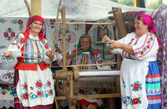 Belarusian women still make skilful use of an old weaving machine