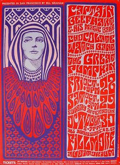 """""""Along with Alton Kelley, Victor Moscoso, Rick Griffin and Stanley Mouse, Wes Wilson was part of the 'Big Five' (photo below) which were the leading rock poster designers of the mid to late 60′s. Based in San Francisco, these artists created iconic works, many of them for Bill Graham's Fillmore venue and they are some of the most sought after posters by collectors today. There's a wonderful in-depth interview with Wes Wilson on the Collector's Weekly website which comes highly recommend"""