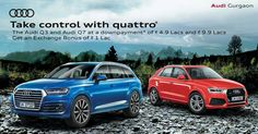 Book the Audi Q3 and the Audi Q7 at downpayments of Rs. 4.9 Lacs and Rs. 9.9 Lacs respectively. T & C apply. #quattro #Audi #Gurgaon #Q3 #luxury #luxurylifestyle #cars #carstagram #carsofinstagram #vsco #caroftheday #carphotography