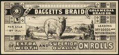 Buy Daggett's Braid, of extra width and superior quality on rolls [front] Vintage Labels, Vintage Ephemera, Vintage Business Cards, Boston Public Library, Victorian Design, Vintage Typography, Retro Design, Graphic Design, Couture