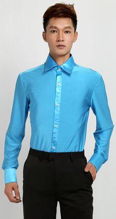 36db94efb US $24.59 |adult Boys male BlueLatin dance tops clothes men long sleeve  shirt modern ballroom Latin Dance shirts Stage shirts-in Latin from Novelty  ...