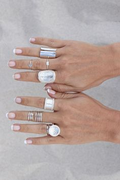 Stack your rings! We love this gorgeous silver ring stack.