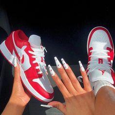 Jordan Shoes Girls, Girls Shoes, Jordan Sneakers, Swag Shoes, Cute Sneakers, Sneakers Women, Red Sneakers, Casual Sneakers, Shoes Women