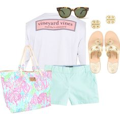 Aqua chino shorts, Lilly bag, vineyard vines tee, studs, wayfarers, and jacks!
