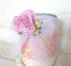 Pencil cup decorated with flowers,tule and pretty paper and glitter by Creative Chaos
