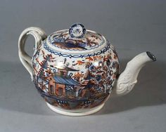 LEEDS PEARLWARE TEAPOT AND COVER WITH IMARI PAGODA IN LANDSCAPE ...