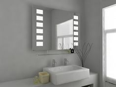 Neo Fluorescent Illuminated Mirror with Sensor, Demister Pad and Shaver Socket Size: x x mm Illuminated Bathroom Cabinets, Illuminated Mirrors, Bathroom Mirror Cabinet, Mirror Cabinets, Modern Mirror Design, Pull Cord Switch, Infinity Mirror, Hollywood Mirror, Shelves