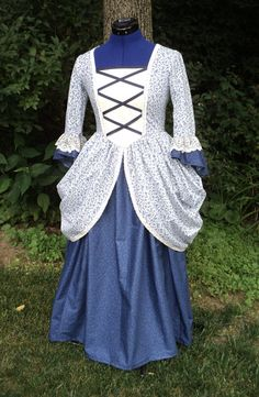 Girl's Sz 12 Colonial Revolutionary War day dress w/ coordinates and side bustles/calico cotton old-fashioned costume-READY-TO-SHIP Hamilton Costume, Kerchief, Cross Patterns, Revolutionaries, Day Dresses, Colonial, Bodice, Cotton Fabric, War