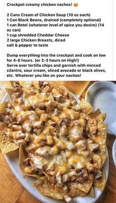 Slow Cooker Recipes, Crockpot Recipes, Cooking Recipes, Chicken Recipes, Crockpot Chicken Nachos Recipe, Cooking Hacks, What's Cooking, Crockpot Dishes, Crock Pot Cooking