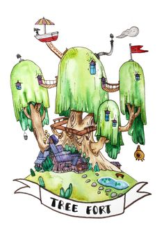 """Adventure Time """"Tree Fort"""" Watercolour Giclee Print by debslimart on Etsy"""