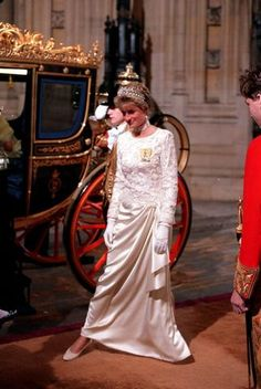 October 31, 1991: Princess Diana arrives for the State Opening of Parliament at the Sovereign's entrance, Palace of Westminster.