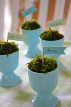 Cute egg cup idea from the Farm Chicks using a little moss and a place card flag OR you could put an decorated egg with the name on the egg is a place card. Either way would be cute for Easter.