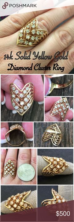 14k Solid Yellow Gold ~.75ctw Diamond Ring This is another Amazing 14k Solid Yellow Gold Large ~.75ctw Handcrafted Diamond Cluster Ring. Size 6.25. Marked 14k ADAMOR. There are 15 diamonds each 2.5mm & equals 0.75ctw. Weighs 5.63 grams. The ring is in great pre-owned condition. A total show stopper! Would also make an amazing gift for someone special! Thanks for looking! Please ask ?'s b4 purchasing. I ship same day! Please make REASONABLE offer using the offer button only. No low ball…