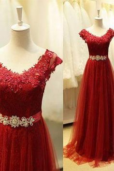 Red Prom Dress,Prom Dress 2016,Long Prom Dress,Lace Prom Gowns,A line Evening Dress,Tulle Prom Dress,Prom Formal Dress,Graduation Dress On Sale,Graduation Dress,