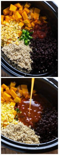 A ONE dish, Crockpot Mexican Quinoa ◦1 and 1/2 pounds (~4 cups) butternut squash ◦1 cup frozen corn ◦1 can (15.25 ounces) black beans ◦1 cup uncooked quinoa, rinsed ◦1 teaspoon minced garlic ◦1 can (14.5 ounces) fire-roasted petite diced tomatoes ◦1 small jalapeno, optional ◦2 cans (19 ounces each) mild red enchilada sauce ◦1 cup vegetable or chicken broth ◦1 packet (1.25 ounces) taco seasoning