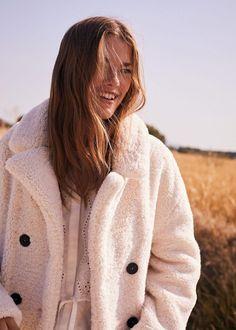 Mathilde Brandi in coat from Mango Fall 2019 Collection Faux Shearling Coat, Mango Tops, Mango Fashion, Coats For Women, Latest Trends, Cool Outfits, Raincoat, Women Wear