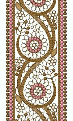 8924 Lace Embroidery Design Embroidery Neck Designs, Border Embroidery, Crewel Embroidery, Ribbon Embroidery, Embroidery Patterns, Vine Design, Border Design, Saree Border, Border Pattern
