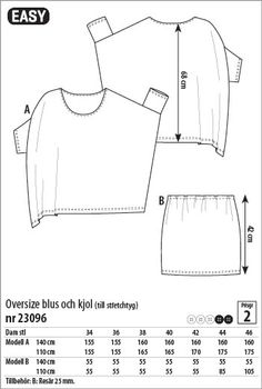 Oversize blus och kjol - 23096 - Stoff & Stil