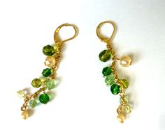 Green Beaded Chain Earrings Green Earrings Chain by GrandmasDowry