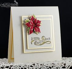 CAS poinsettia card - lined in 18K Gold Leaf - bjl