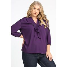 Plus Size Front Knot Top So cute and comfy! 100% polyester. 3/4 length sleeves with a relaxed fit. Tops Blouses