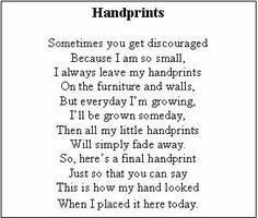 Handprint poem, I made this in preschool when I was little, and I want to do this with Tookie soon!