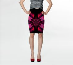 """Fitted+Skirt+""""Fire+Lotus+Pink+2""""+by+Sherrie+Larch"""