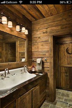 Bathroom sink in wooden house